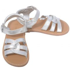 L'Amour Silver Woven Strap Summer Sandals Toddler Girls 5-10
