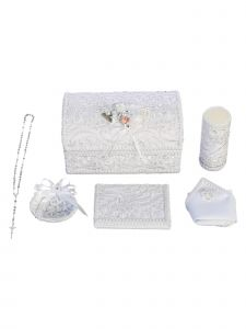 Angels Garment Unisex Baby Multi Color Decorated Wooden Baptism Box Set English