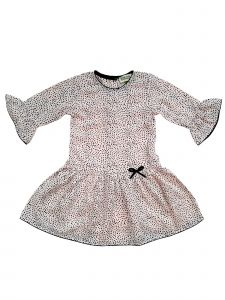 Sophie Catalou Little Girls Blush Dot Flounced Sleeve Abigail Dress 3-6