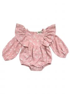 Sophie Catalou Baby Girls Blush Ecru Jance Bubble Sleeve Bodysuit 3-12M