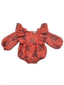 Sophie Catalou Baby Girls Masala Red Raju Bubble Sleeve Bodysuit 3-12M