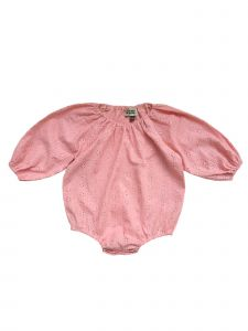 Sophie Catalou Baby Girls Blush Eyelet Rimmah Bubble Sleeve Bodysuit 3-9M