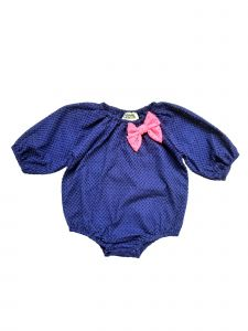 Sophie Catalou Baby Girls Royal Blue Pink Eylet Bubble Sleeve Bodysuit 3-9M
