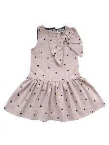 Sophie Catalou Big Girls Ecru Polka Dot Bow Sleeveless Reggie Dress 8-10