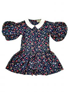 Sophie Catalou Big Girls Navy Ditsy Floral Bubble Sleeve Marissa Dress 8-10