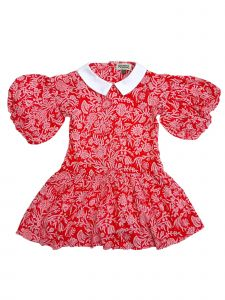 Sophie Catalou Little Girls Red White Floral Maria Christmas Dress 2-6