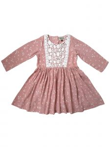Sophie Catalou Little Girls Blush Floral Lace Panel Jacey Dress 2-6