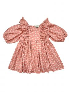 Sophie Catalou Little Girls Blush Flounce Detail Bubble Sleeve Amy Dress 3-6
