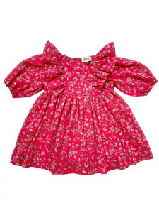 Sophie Catalou Little Girls Fuchsia Bubble Sleeve Follie Dress 3-6