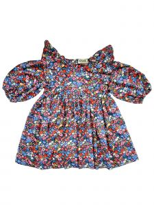 Sophie Catalou Little Girls Navy Bubble Sleeve Florali Print Dress 3-6