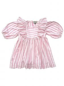 Sophie Catalou Big Girls Pink Stripe Bubble Sleeve Wanda Dress 8
