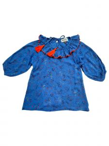Sophie Catalou Little Girls Dark Blue Red Tassel Elizabeth Dress 3-6