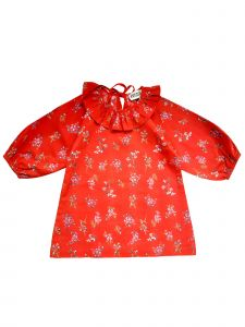 Sophie Catalou Little Girls Red Rowan Flounce Collar Tassel Flynn Dress 3-6