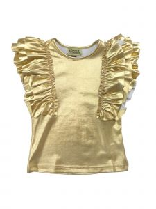 Sophie Catalou Little Girls Gold Metallic Shine Ruffle Embellished Top 6