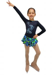 Ice Fire Skating Big Girls Blue Green Fantasy Rhinestone Skating Dress 5-12