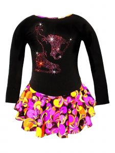Ice Fire Skating Big Girls Pink Orange Fantasy Rhinestone Skating Dress 5-12