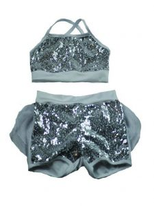 Reflectionz Big Girls Silver Glitter Sequin Ruffle 2 Pc Shorts Dance Set 8-10
