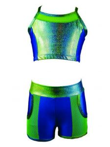 Reflectionz Little Girls Turquoise Lime Spaghetti Strap 2 Pc Shorts Set 4-6