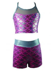 Reflectionz Little Girls Silver Pink Mermaid Scale 2 Pc Dance Shorts Set 4-6