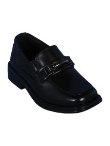 Angels Garment Boys Black Slip-On Buckle Accent Dress Shoes 11-7 Kids