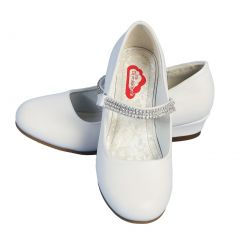 Angels Garment Little Girls White Rhinestone Strap Heeled Shoes 11-3 Kids