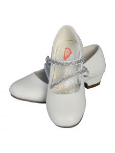 "Angels Garment Little Girls White Rhinestone Strap 1"" Heel Shoes 7-10 Toddler"