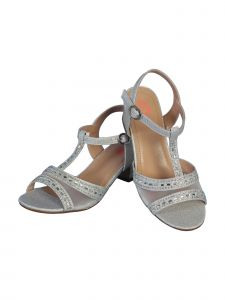 "Angels Garment Girls Silver Glitter Stone T-Bar 1 1/2"" Heel Sandals 11-7 Kids"
