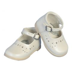 Angels Garment Girls Ivory Floral Heart Leather Dress Shoes 2 Baby-6 Toddler