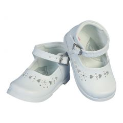 Angels Garment Girls White Floral Heart Leather Dress Shoes 2 Baby-6 Toddler