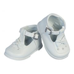 Angels Garment Girls White Bow Accent T-Bar Leather Shoes 2 Baby-6 Toddler