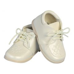 Angels Garment Boys Ivory Lace-Up Leather Christening Shoes 2 Baby-6 Toddler