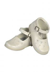 Angels Garment Girls Ivory Floral Appliques Mary Jane Shoes 2-4 Baby