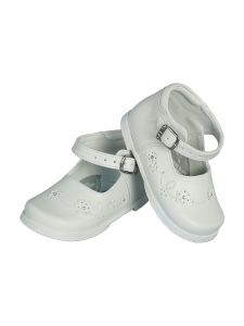 Angels Garment Girls White Floral Buckle Strap Mary Jane Shoes 2-4 Baby