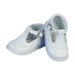 Angels Garment Toddler Girls White Buckle Flowers Easter Shoes 4-5