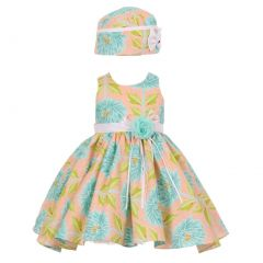 Baby Girls Peach Blue Floral Pattern Sleeveless Bow Hat Dress Set 6-24M