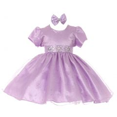 Baby Girls Lilac Short Sleeve Sparkle Floral Stone Flower Girl Dress 6M
