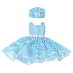 Baby Girls Turquoise Checker Print Fit-And-Flare Bonnet Flower Girl Dress 6-24M