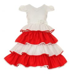Little Girls Red Ruffle Layers V-neck Satin Flower Girl Dress 4-6