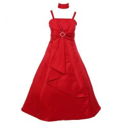 Little Girls Red Rhinestone Brooch Dull Satin Special Occasion Dress 4-6