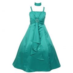 Little Girls Teal Rhinestone Brooch Dull Satin Special Occasion Dress 4-6