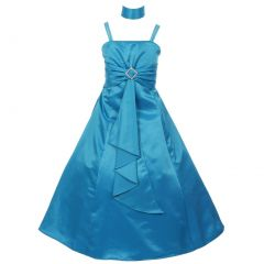 Little Girls Turquoise Rhinestone Brooch Dull Satin Special Occasion Dress 4-6