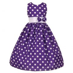 Big Girls Purple White Polka Dot Allover Bow Accented Easter Dress 8-10