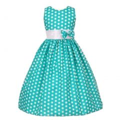 Big Girls Teal White Polka Dot Allover Bow Accented Easter Dress 8-10