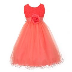 Big Girls Coral Sash Tulle Rosette Bodice Flower Girl Dress 8-12