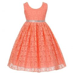 Little Girls Coral Floral Lace Overlay Dazzling Waist Flower Girl Dress 2T-6