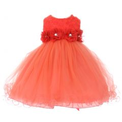 Baby Girls Coral Sparkle Jewel Centered Flower Adorned Easter Dress 3-24M