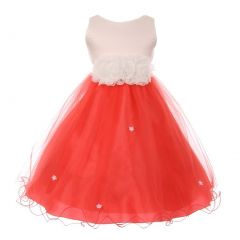 Little Girls Coral Trim Floral Embellished Waist Special Occasion Dress 2-6