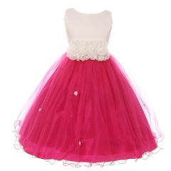 Big Girls Fuchsia Trim Floral Embellished Waist Junior Bridesmaid Dress 10