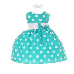 Baby Girls Teal White Polka Dot Bow Sash Headband Special Occasion dress 3-24M