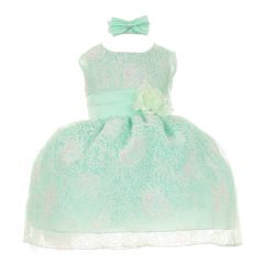 Baby Girls Mint Organza Floral Headband Sleeveless Special Occasion dress 3-24M